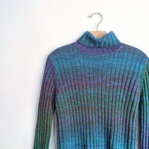 Vtg 90s Variegated Rainbow Speckled Turtleneck Top